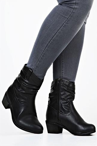 Black Ruched Ankle Boot With Mid  Heel EEE Fit