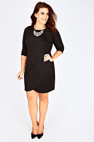 Black Long Sleeved Jersey Wrap Dress