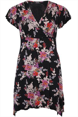 Black And Multi Floral Print Wrap Front Jersey Longline Top