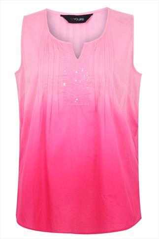 Pale Pink & Magenta Dip Dye Sleeveless Blouse