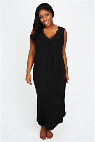 Black Nightdress With Lace V Neckline
