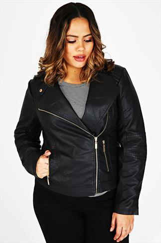 Black Leather Look Biker Jacket