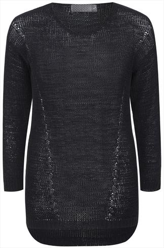 Black Yarn Knit Long Sleeve V-Neck Jumper