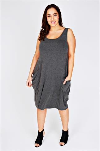 Dark Grey Marl Drape Pocket Sleeveless Dress