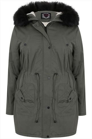 Khaki Parka With Black Fur Hood