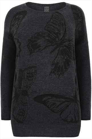 Grey Embellished Butterfly Print Soft Wool Mix Jumper