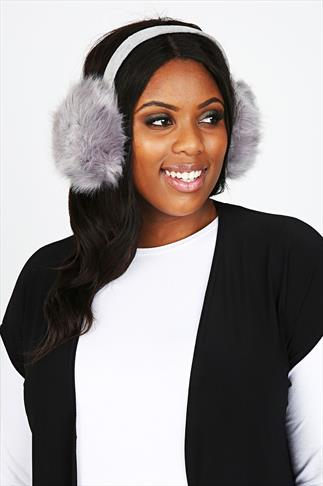 Grey Faux Fur Ear Muffs