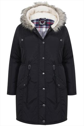 Black Fishtail Parka Coat With Fur Hood