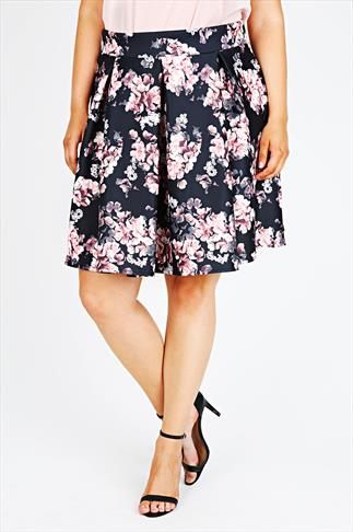 Black & Pink Floral Print Skater Skirt