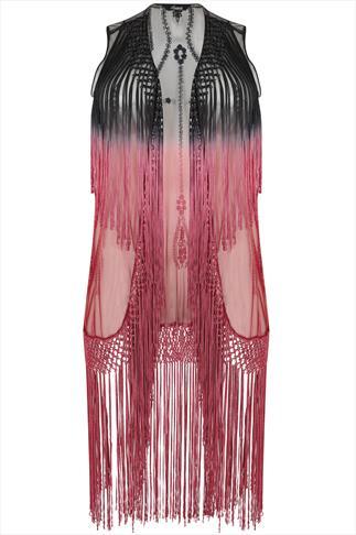 Black & Pink Ombre Sleeveless Kimono With Tassels