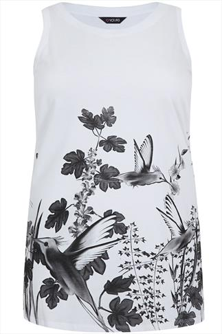 Black And White Bird Print Sleeveless Top