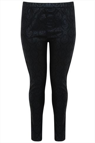 Black Baroque Foil Print Jegging