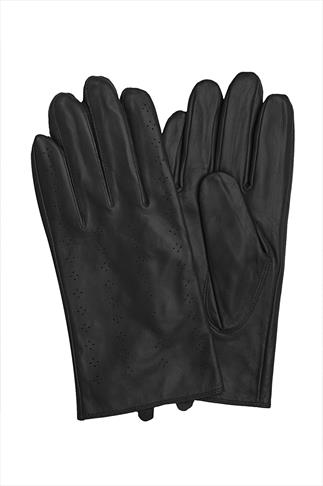 Black Leather Gloves With Perforated Pattern Detail