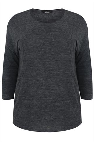 Grey 3/4 Bat Wing Sleeve Top With Contrasting PU Neckline