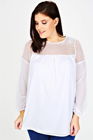 White Swing Blouse With Crochet Panel