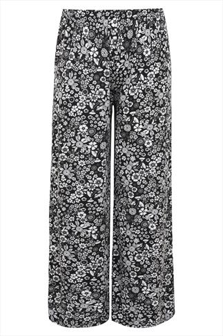 Black & White Floral Print Palazzo Trousers