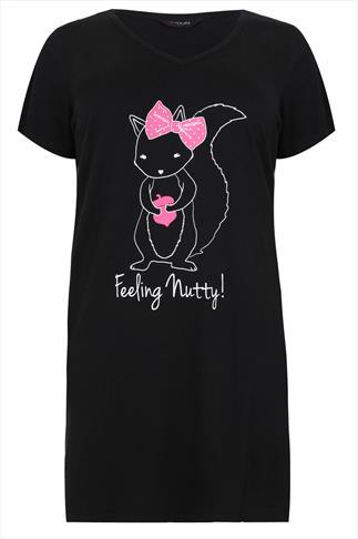 """Black Squirrel """"Feeling Nutty"""" Nightdress"""