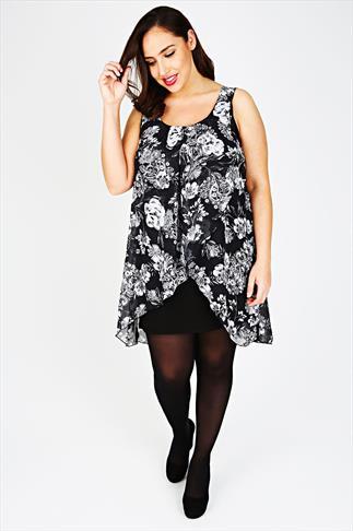 Black & White Floral Paisley Print Chiffon Overlay Tunic Dress