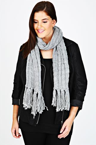Grey Cable Knit Scarf With Tassels