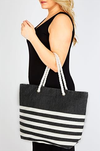 Black And Cream Striped Beach Bag