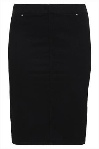 Black Denim Pull On Pencil Skirt
