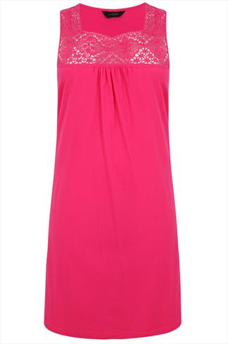 Hot Pink Sleeveless Nightdress with Crochet Detail