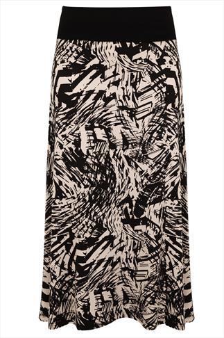 Black Tribal Print Maxi Skirt With Folded Waistband