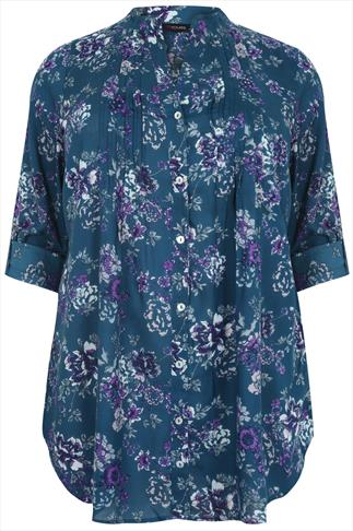 Teal All Over Floral Pin Tuck Shirt With Sequin Embellishment