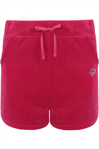 Hot Pink Velour Shorts With Silver Crown Detail