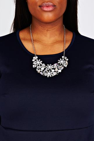Silver Flower Crystal Statement Necklace
