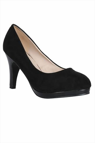 Black Suedette Court Shoes In EEE Fit