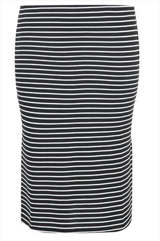 Black & White Stripe Midi Pencil Skirt