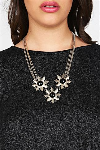 Gold & Black Statment Flower Necklace