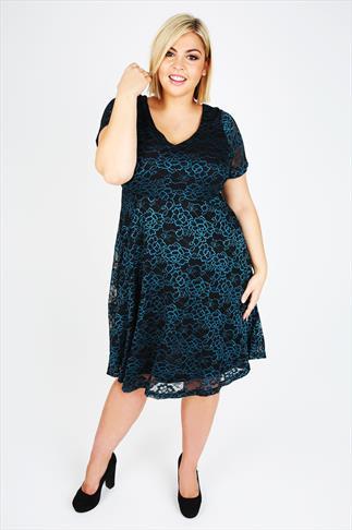 Black & Teal Short Sleeve Lace Skater Dress