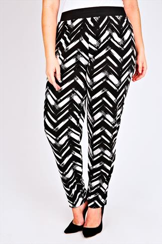 Black And White All Over Chevron Print Jersey Harem Trousers