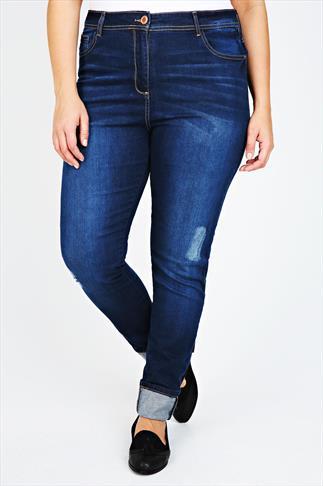 Mid Blue Distressed Denim Straight Leg Jean