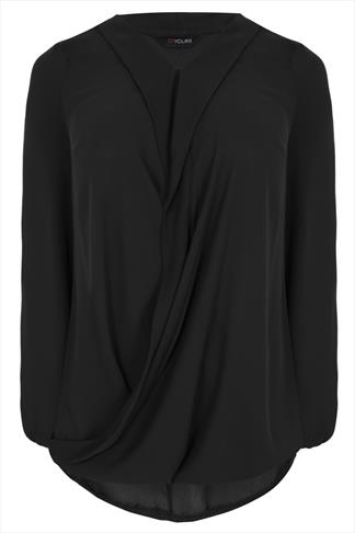 Black Chiffon Wrap Blouse With Long Sleeves