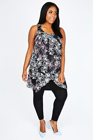 Black & Pink Floral Print Chiffon Overlay Tunic Dress