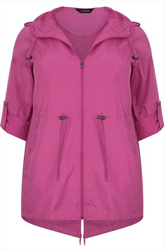 Magenta Shower Resistant Pocket Parka Jacket With Hood