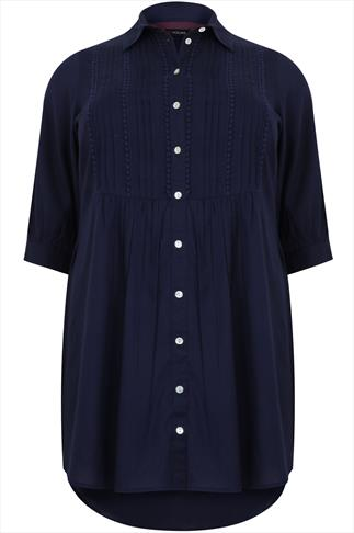 Navy Shirt Tunic Dress With Pintuck Detail