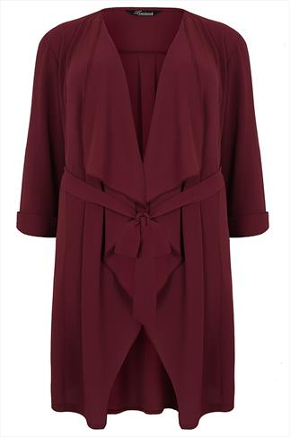 Wine Waterfall Front Longline Crepe Jacket