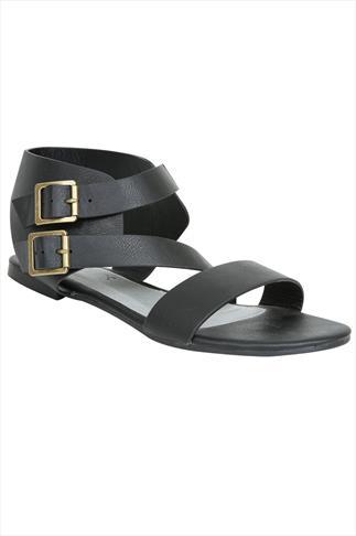 Black Twin Buckle Gladiator Sandal In EEE Fit