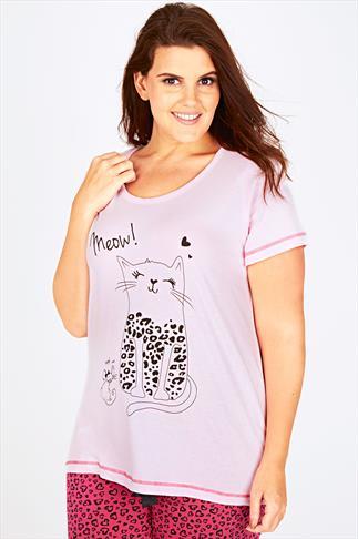 Pink Meow Cat Print Jersey Pyjama Top