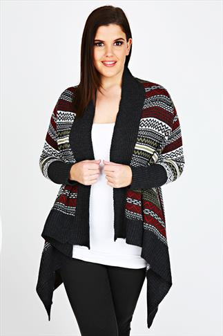 Multi Aztec Patterned Knitted Waterfall Cardigan