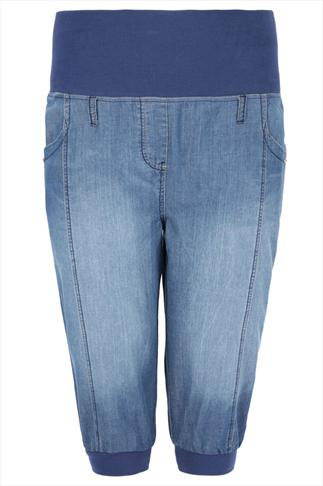 Mid Blue Lightweight Crop Harem Cuffed Jeans