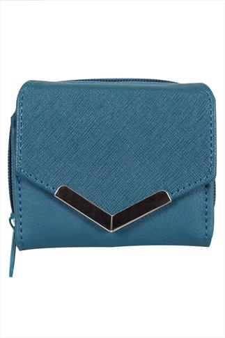 Teal Small Purse With Textured Flap And Metal Trim Detail