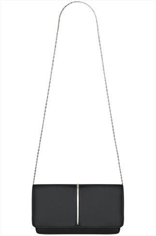 Black Clutch With Metal Trim Detail And Detachable Chain
