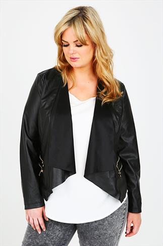 Black PU Fitted Jacket With Waterfall Front And Zip Pockets