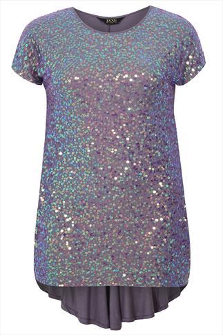 Lilac Sequin Embellished Longline Top With Godet Back Detail