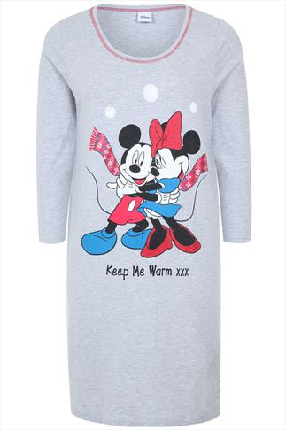 Grey Marl Disney Mickey And Minnie Nightdress